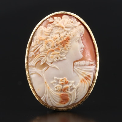 Vintage 14K Yellow Gold Helmet Shell Cameo Brooch