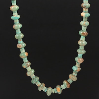 Beaded Turquoise Necklace with Sterling Clasp