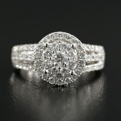 14K White Gold 1.06 CTW Diamond Ring