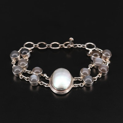 Mary Dayea Navajo Diné Sterling Silver Mother of Pearl and Moonstone Bracelet