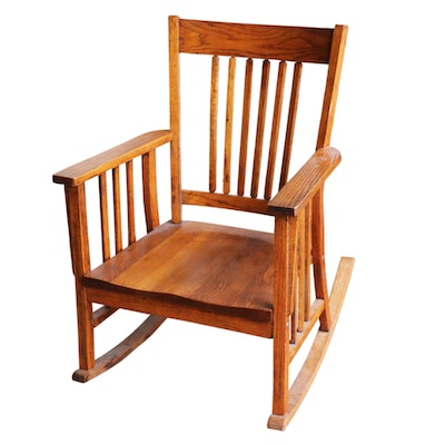 Mission Style Oak Rocking Chair, Early to Mid 20th Century