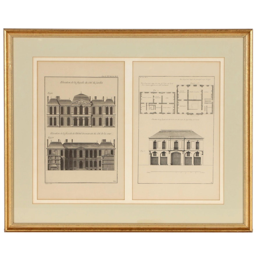 Lithographic Reproductions after Copper Plate Architectural Engravings
