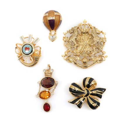 Joan Rivers Rhinestone and Enamel Brooches