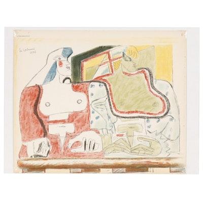 """Le Corbusier Color Lithograph for """"Oeuvre Plastique"""", 1938"""
