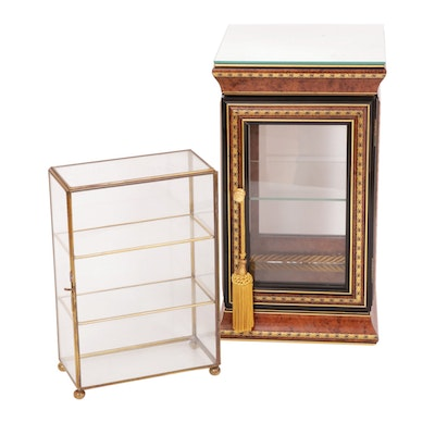 Horchow with Brass and Glass Tabletop Curio Cabinets
