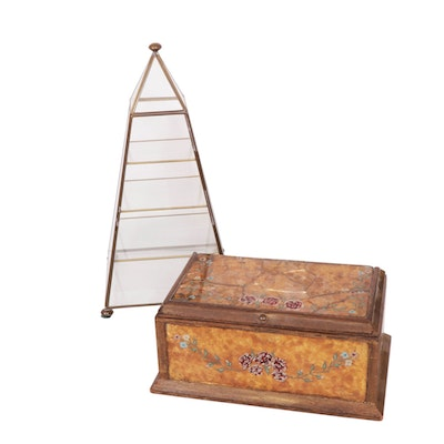 Brass and Glass Pyramid Curio Cabinet with Glass and Wood Floral Box