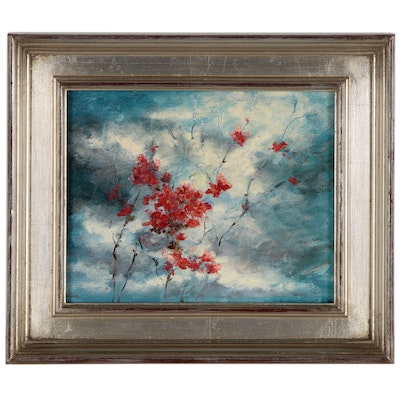 Oil Painting of Blossoming Branches, Late 20th Century