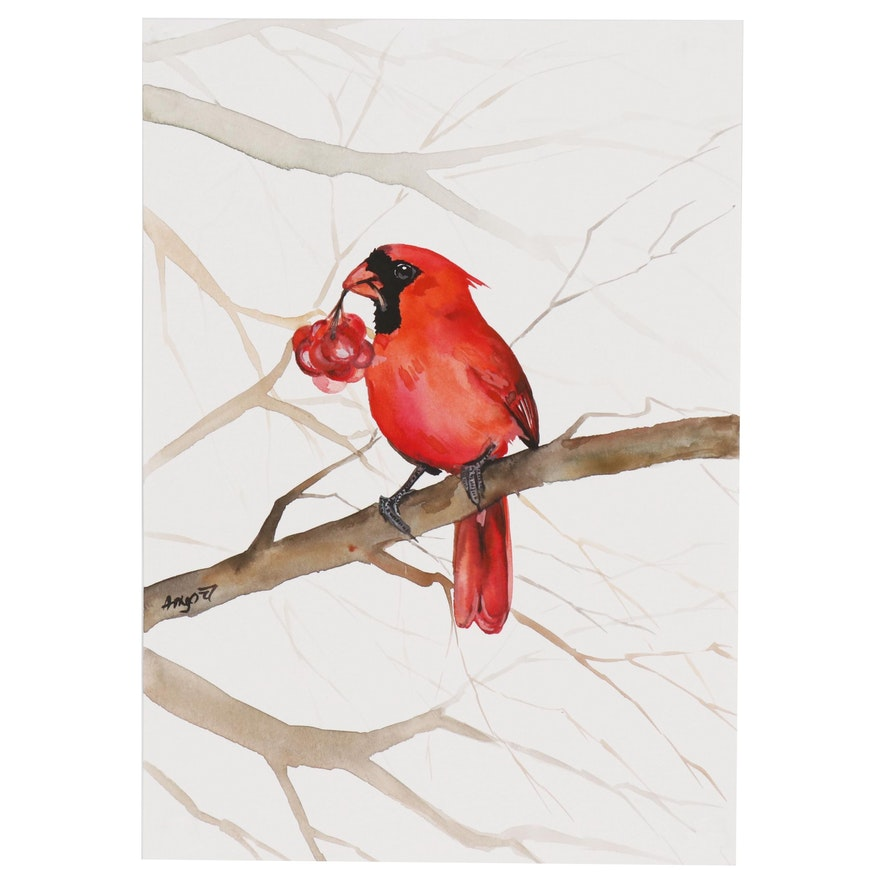 Anne Gorywine Watercolor Painting of Cardinal, 2019