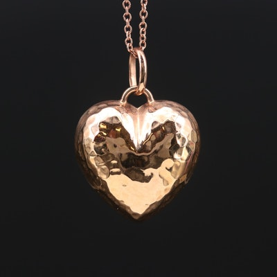 14K Gold Hammered Heart Pendant Necklace