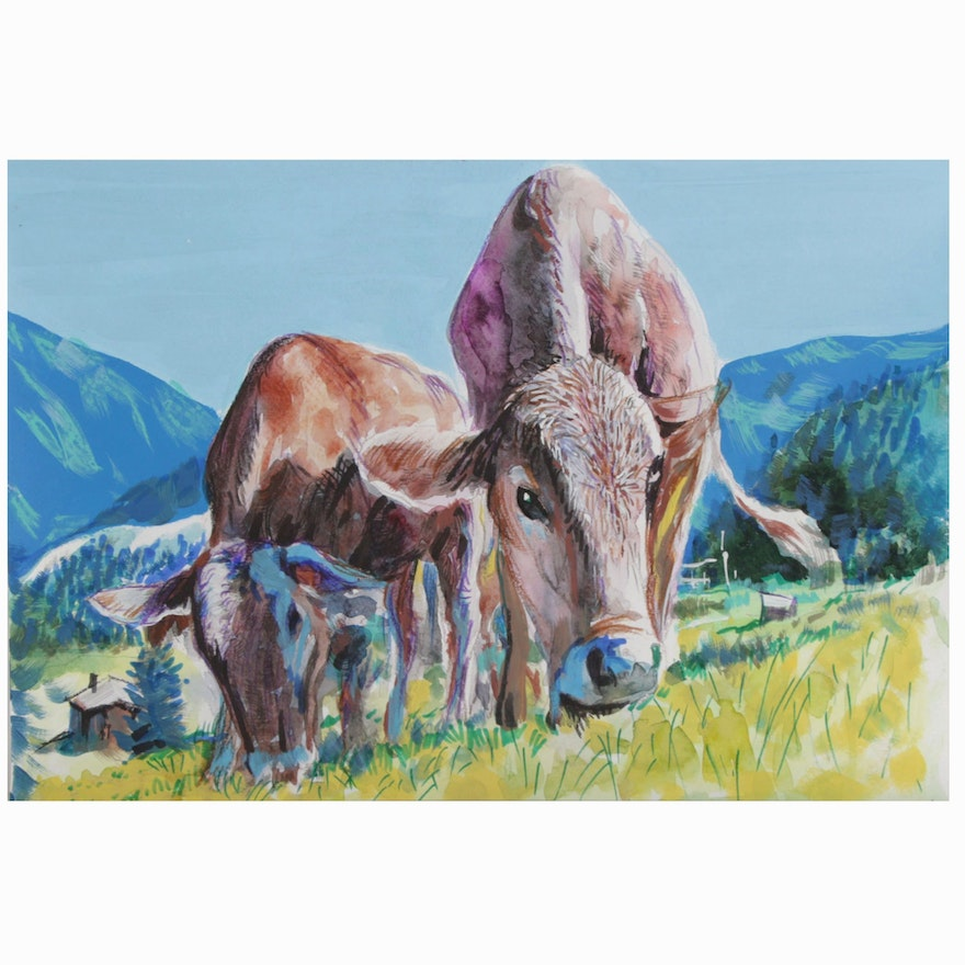 Watercolor Painting of Cows Grazing in Pasture