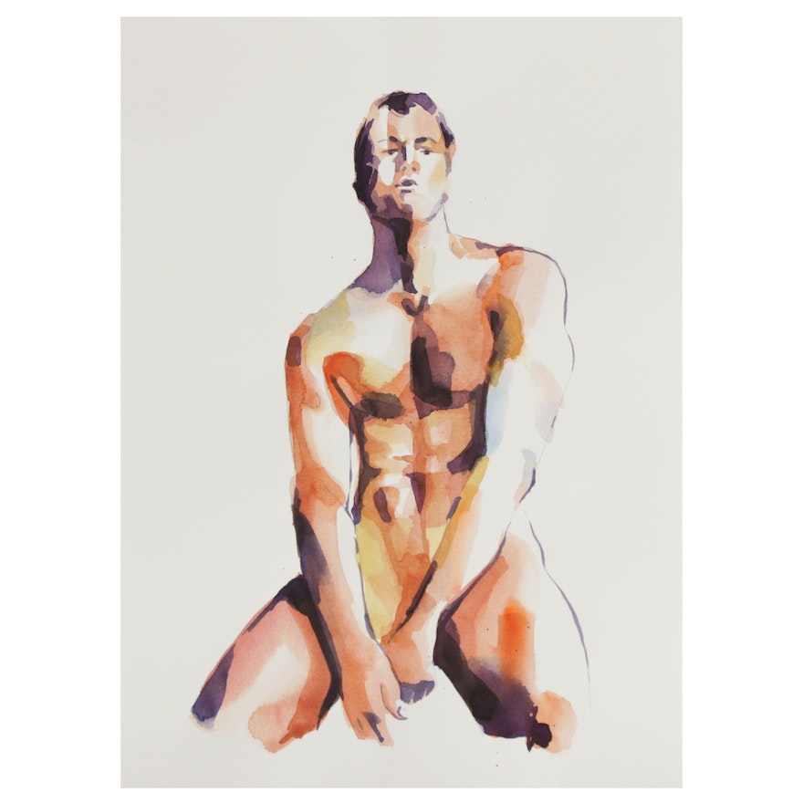 Watercolor Painting of Male Nude Figure