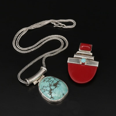 Sterling Turquoise Pendant Necklace and Jasper Converter Brooch