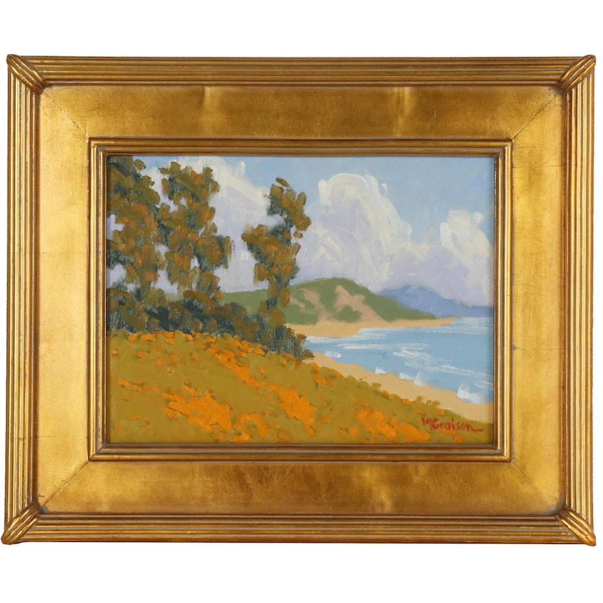 "Marc A. Graison California Impressionistic Oil Painting ""Coastal Gold"", 2020"