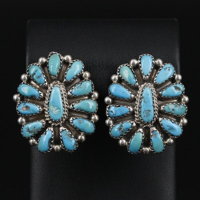 Southwestern Style Sterling Silver Turquoise Cluster Earrings
