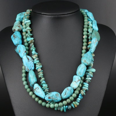 Beaded Turquoise Multi-Strand Necklace with Sterling Silver Clasp