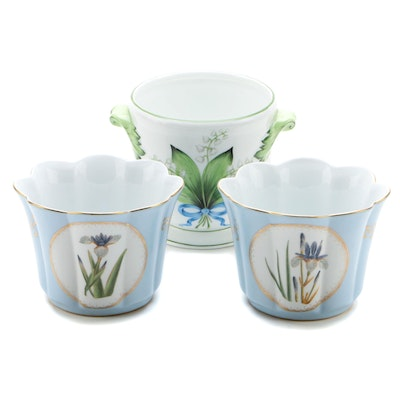 Ann Marie Murray Bespoke Porcelain Cache Pot with Pair of Other Cache Pots