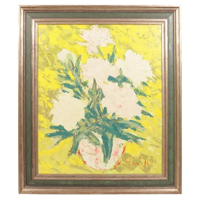 "Floral Oil Painting ""June Blooms"", Mid to Late 20th Century"