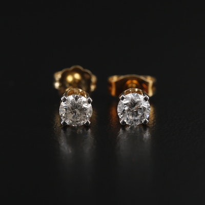 14K Yellow Gold 0.46 CTW Diamond Solitaire Earrings