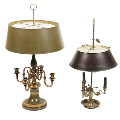 Brass and Metal Candelabra Table Lamps, Mid-20th Century