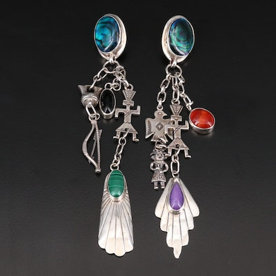 Gilo & Grace Nakai Navajo Diné Sterling Mixed Gemstone Earrings