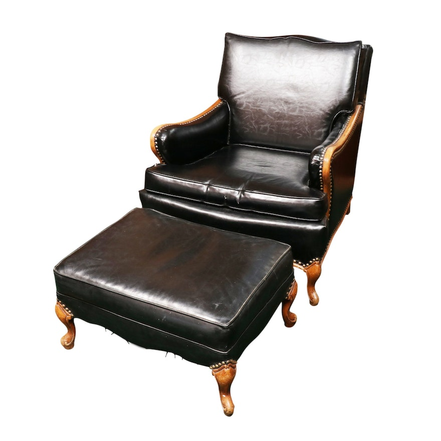 Louis XV Style Black Leather Bergère with Ottoman, Mid-20th Century