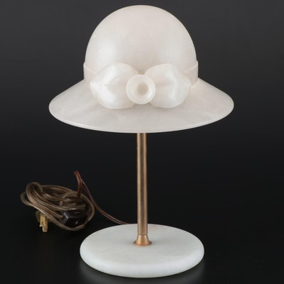 Italian Carved Alabaster Hatstand Table Lamp, Mid to Late 20th Century