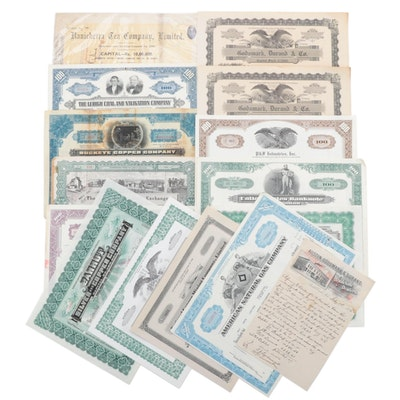 Industry Stock Certificates Including Ranicherra Tea Company