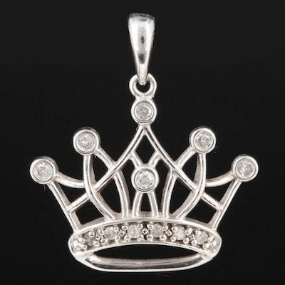 10K White Gold Diamond Crown Pendant