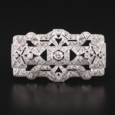 14K Gold and Platinum Diamond Brooch