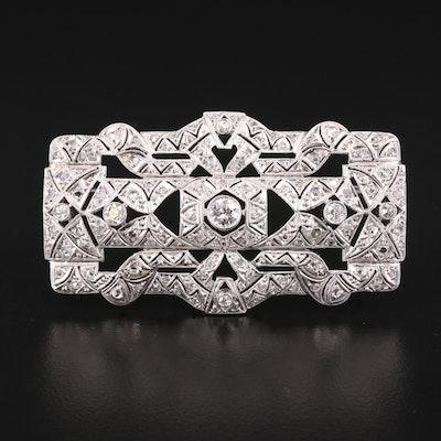 Art Deco 14K Gold and Platinum Diamond Brooch