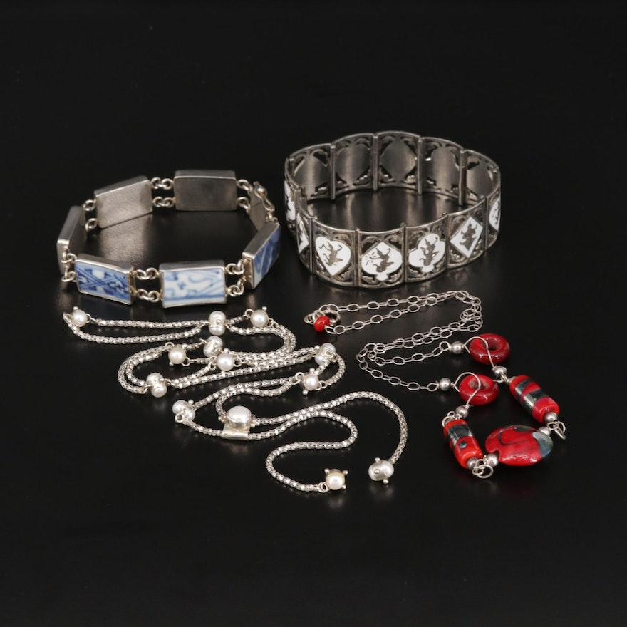 Sterling Gemstone Necklaces and Bracelet Featuring Siam Sterling
