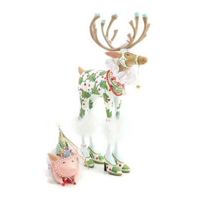 Patience Brewster Moose and Pig Christmas Ornaments
