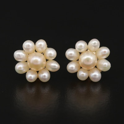 14K Yellow Gold Pearl Earrings