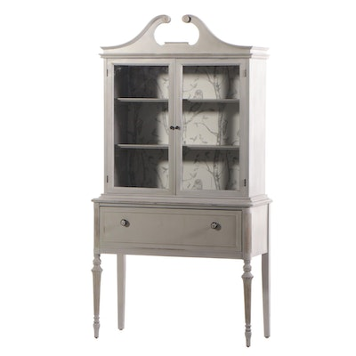 Federal Style Painted Wood Glass Front China Cabinet, Late 20th Century