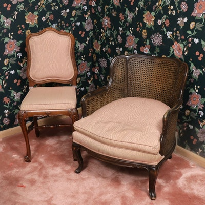 Louis XV Style Double-Caned Bergère with Side Chair, 20th Century