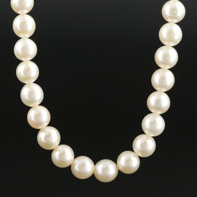 Vintage Cultured Pearl Necklace with 14K White Gold Clasp
