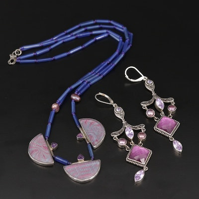 Sterling Necklace and Earrings with Pearl, Glass and Amethyst