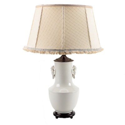 Chinese Blanc de Chine Porcelain Converted Vase Table Lamp with Fabric Shade