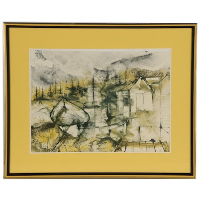 Expressionistic Lithograph of Lakeside Cabin with Boat