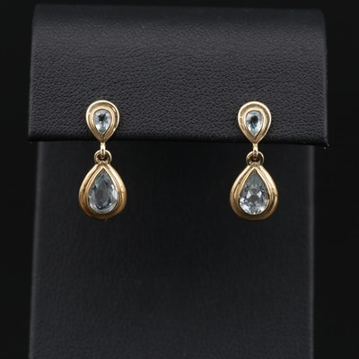 14K Yellow Gold Topaz Dangle Earrings