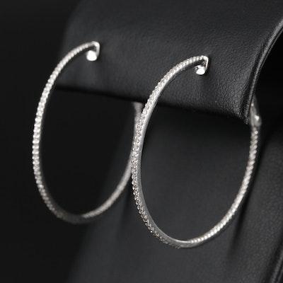 14K White Gold Diamond Inside-Out Hoop Earring