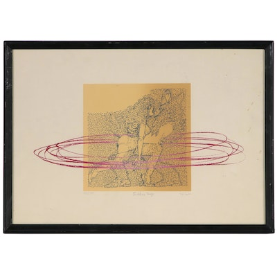 """Figural Lithograph """"Endless Tango"""", Late 20th Century"""
