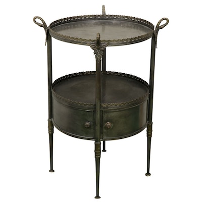 Neoclassical Style Patinated Metal Two-Tier Side Table