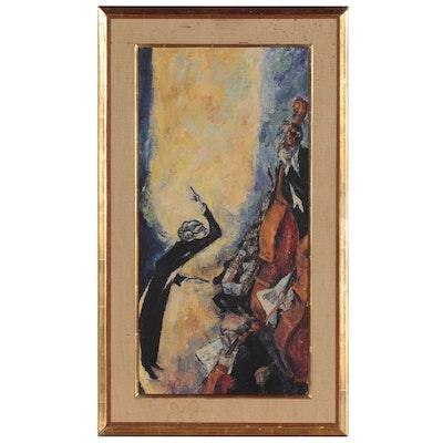 "Mervin Jules Oil and Encaustic Painting ""Concert"""