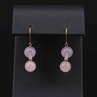 10K Yellow Gold Rose Quartz Dangle Earrings