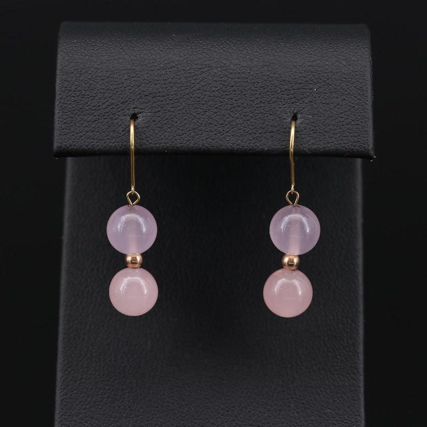 10K Yellow Gold Rose Quartz Dangle Earrings