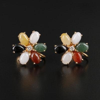 14K Yellow Gold Diamond, Jadeite, and Black Onyx Flower Earrings