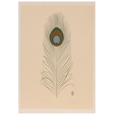 P. Chu Serigraph of Peacock Feather