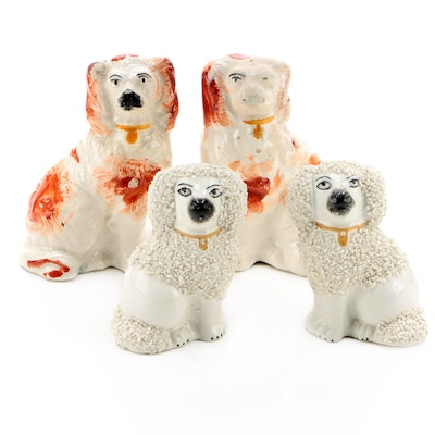 Staffordshire Comfort Spaniels and Poodle Figurines, Victorian and Vintage
