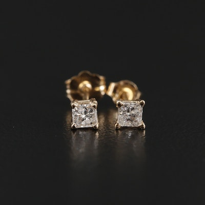 14K and 10K Yellow Gold Diamond Stud Earrings